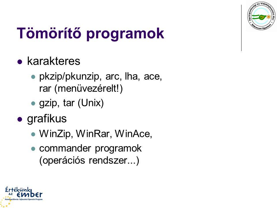Tömörítő programok karakteres pkzip/pkunzip, arc, lha, ace, rar (menüvezérelt!) gzip, tar (Unix) grafikus WinZip, WinRar, WinAce, commander programok (operációs rendszer...)