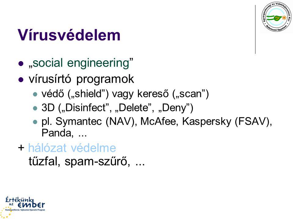 """Vírusvédelem """"social engineering vírusírtó programok védő (""""shield ) vagy kereső (""""scan ) 3D (""""Disinfect , """"Delete , """"Deny ) pl."""