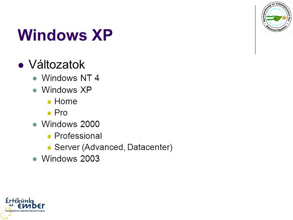 Windows XP Változatok Windows NT 4 Windows XP Home Pro Windows 2000 Professional Server (Advanced, Datacenter) Windows 2003