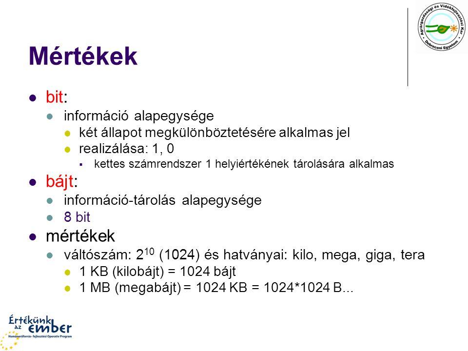 Mértékek bit: információ alapegysége két állapot megkülönböztetésére alkalmas jel realizálása: 1, 0  kettes számrendszer 1 helyiértékének tárolására alkalmas bájt: információ-tárolás alapegysége 8 bit mértékek váltószám: 2 10 (1024) és hatványai: kilo, mega, giga, tera 1 KB (kilobájt) = 1024 bájt 1 MB (megabájt) = 1024 KB = 1024*1024 B...