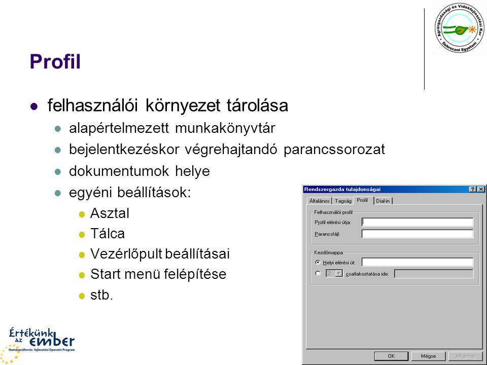 Profil felhasználói környezet tárolása alapértelmezett munkakönyvtár bejelentkezéskor végrehajtandó parancssorozat dokumentumok helye egyéni beállítások: Asztal Tálca Vezérlőpult beállításai Start menü felépítése stb.