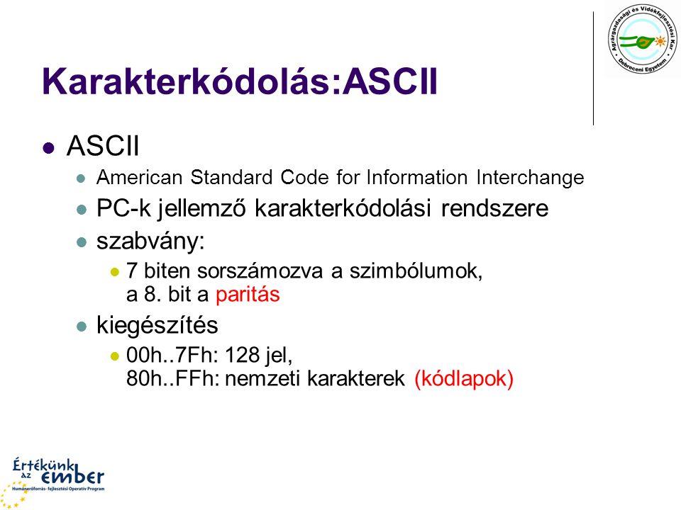 Karakterkódolás:ASCII ASCII American Standard Code for Information Interchange PC-k jellemző karakterkódolási rendszere szabvány: 7 biten sorszámozva a szimbólumok, a 8.