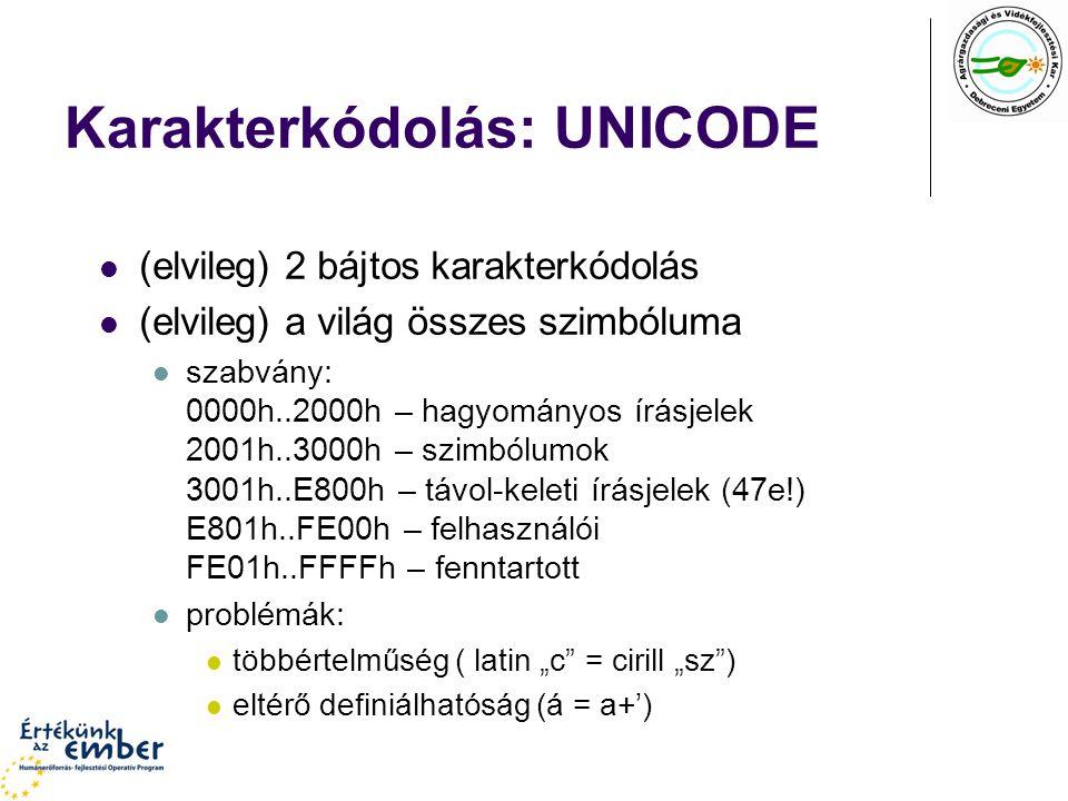 """Karakterkódolás: UNICODE (elvileg) 2 bájtos karakterkódolás (elvileg) a világ összes szimbóluma szabvány: 0000h..2000h – hagyományos írásjelek 2001h..3000h – szimbólumok 3001h..E800h – távol-keleti írásjelek (47e!) E801h..FE00h – felhasználói FE01h..FFFFh – fenntartott problémák: többértelműség ( latin """"c = cirill """"sz ) eltérő definiálhatóság (á = a+')"""