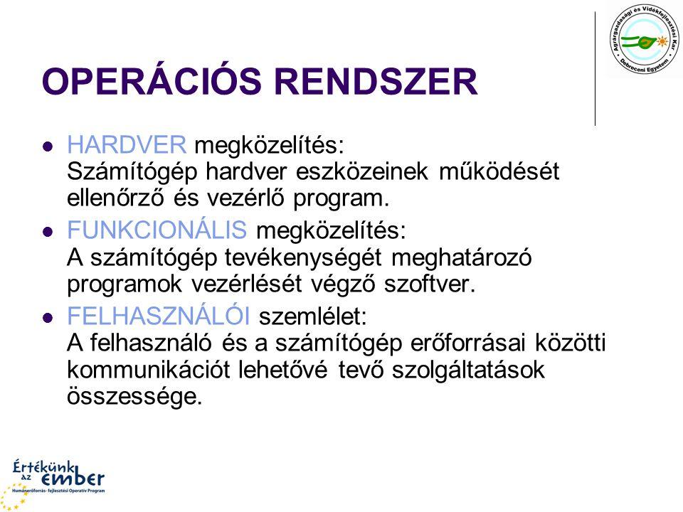 OPERÁCIÓS RENDSZER HARDVER megközelítés: Számítógép hardver eszközeinek működését ellenőrző és vezérlő program.