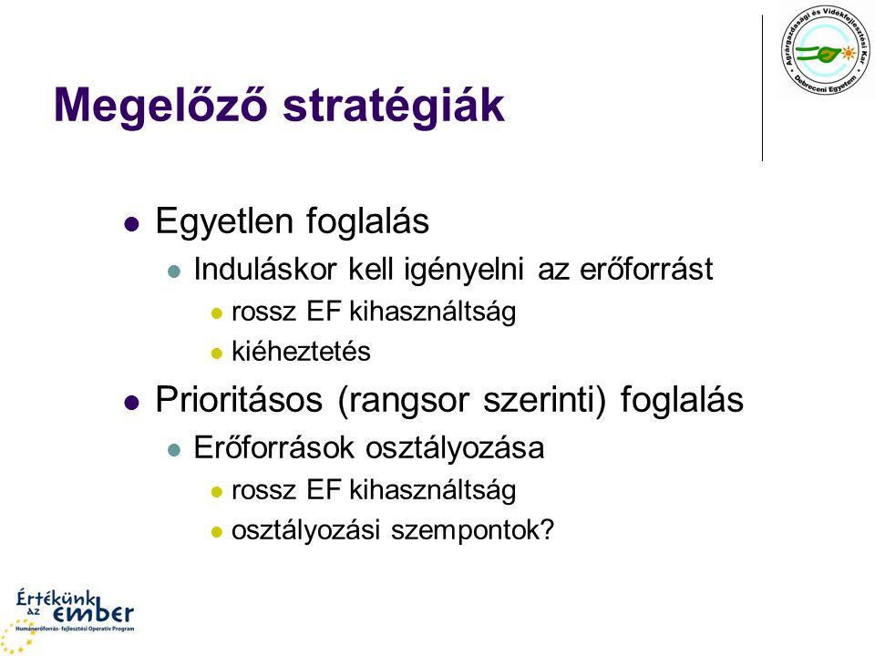 Megelőző stratégiák Egyetlen foglalás Induláskor kell igényelni az erőforrást rossz EF kihasználtság kiéheztetés Prioritásos (rangsor szerinti) foglalás Erőforrások osztályozása rossz EF kihasználtság osztályozási szempontok?