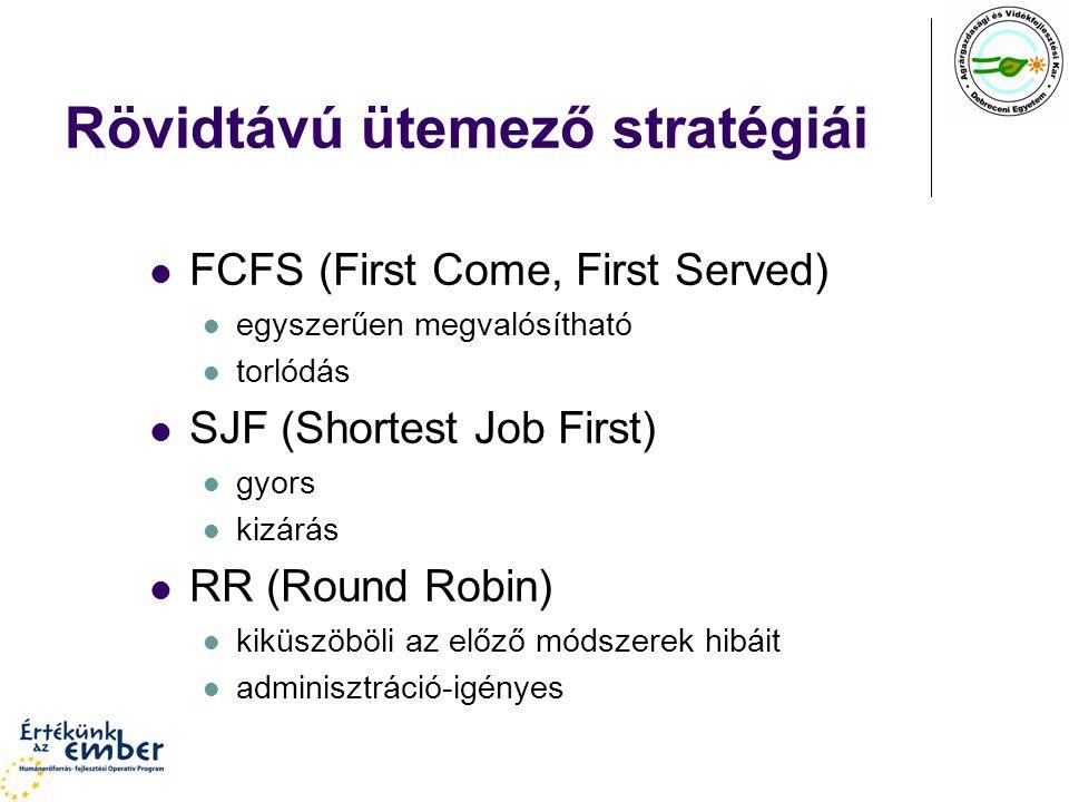 Rövidtávú ütemező stratégiái FCFS (First Come, First Served) egyszerűen megvalósítható torlódás SJF (Shortest Job First) gyors kizárás RR (Round Robin) kiküszöböli az előző módszerek hibáit adminisztráció-igényes