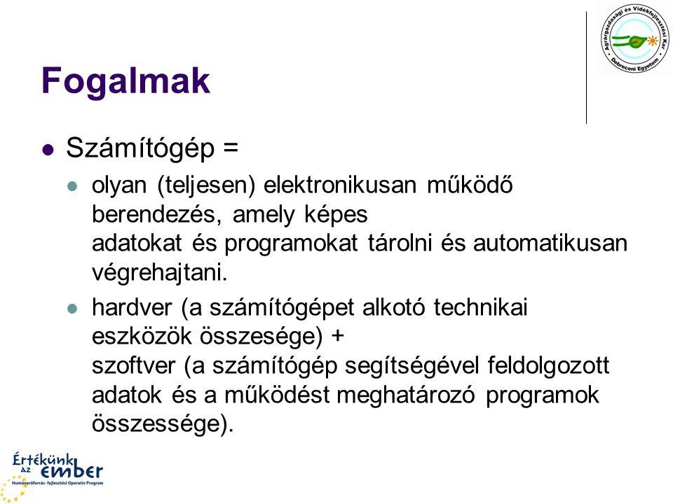 Neumann-elvek Szerkezeti elvek teljesen elektronikus működés (logikai áramkörök alkalmazása) felépítés: CPU + ALU + MEM + I/O Működési elvek kettes számrendszer és Boole-algebra soros utasítás-végrehajtás tárolt program elve