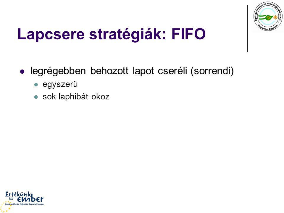 Lapcsere stratégiák: FIFO legrégebben behozott lapot cseréli (sorrendi) egyszerű sok laphibát okoz