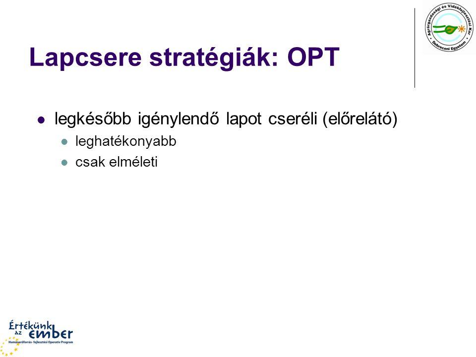 Lapcsere stratégiák: OPT legkésőbb igénylendő lapot cseréli (előrelátó) leghatékonyabb csak elméleti