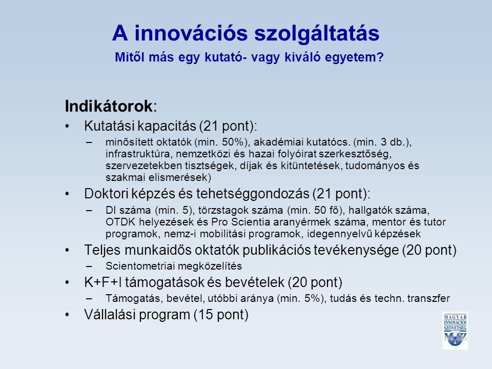 A innovációs szolgáltatás Mitől más egy kutató- vagy kiváló egyetem.