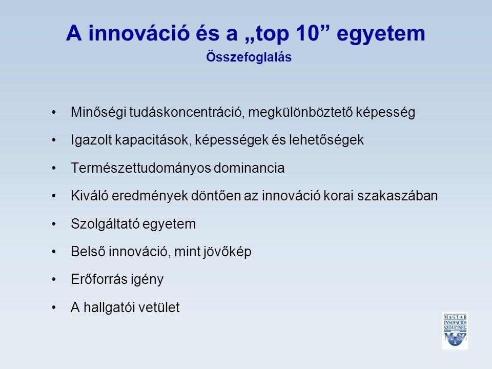 """A innováció és a """"top 10 egyetem Összefoglalás Minőségi tudáskoncentráció, megkülönböztető képesség Igazolt kapacitások, képességek és lehetőségek Természettudományos dominancia Kiváló eredmények döntően az innováció korai szakaszában Szolgáltató egyetem Belső innováció, mint jövőkép Erőforrás igény A hallgatói vetület"""