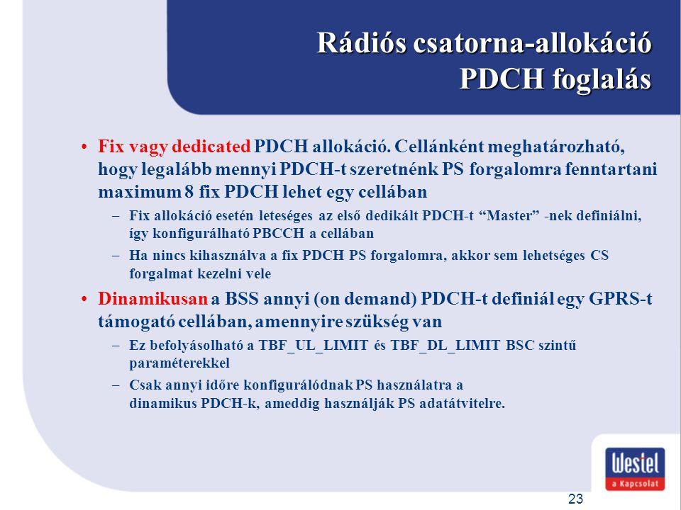 23 Rádiós csatorna-allokáció PDCH foglalás Fix vagy dedicated PDCH allokáció. Cellánként meghatározható, hogy legalább mennyi PDCH-t szeretnénk PS for