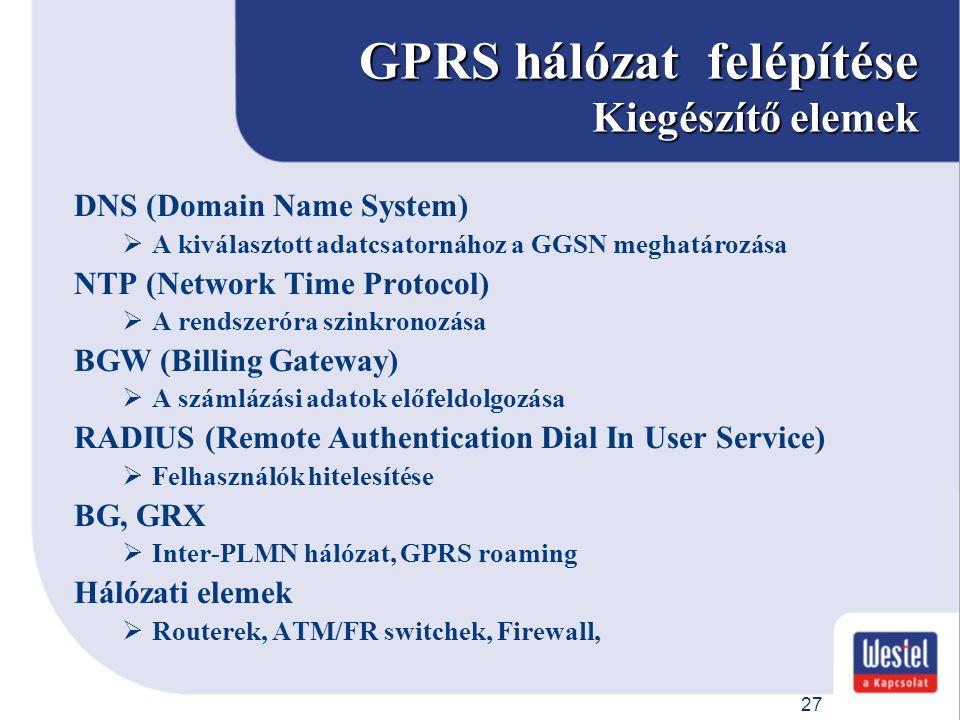 27 GPRS hálózat felépítése Kiegészítő elemek DNS (Domain Name System)  A kiválasztott adatcsatornához a GGSN meghatározása NTP (Network Time Protocol
