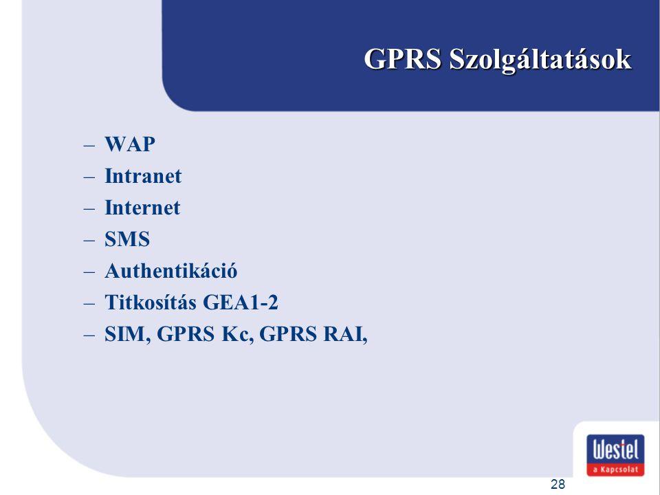 28 GPRS Szolgáltatások –WAP –Intranet –Internet –SMS –Authentikáció –Titkosítás GEA1-2 –SIM, GPRS Kc, GPRS RAI,
