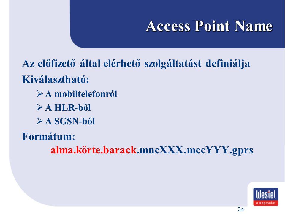 34 Access Point Name Az előfizető által elérhető szolgáltatást definiálja Kiválasztható:  A mobiltelefonról  A HLR-ből  A SGSN-ből Formátum: alma.k