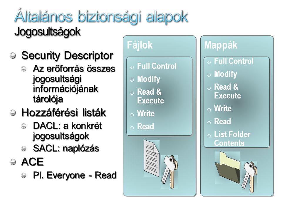 Vezérlőpult/ Felügyeleti eszközök/ Helyi biztonsági házirend/ Felhasználói jogok kiosztása ACE hozzáadása: Objektum tulajdonságai – Biztonság fül - Speciális – Naplózás fül ACE hozzáadása: cacls, xcacls használata WHOAMI /ALL – aktuális user token adatainak listázása