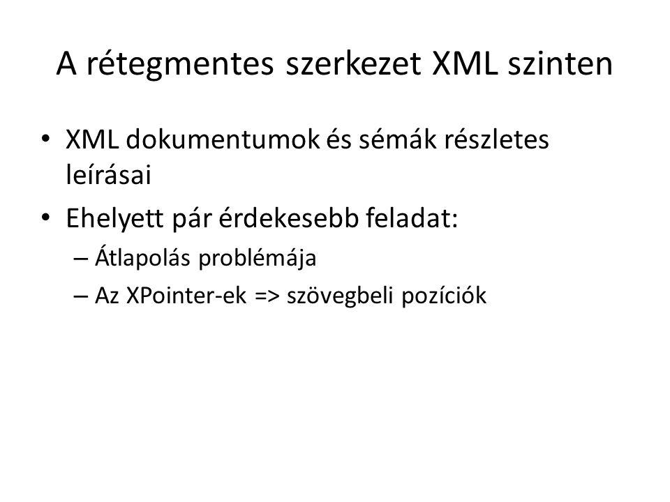A rétegmentes szerkezet XML szinten XML dokumentumok és sémák részletes leírásai Ehelyett pár érdekesebb feladat: – Átlapolás problémája – Az XPointer-ek => szövegbeli pozíciók