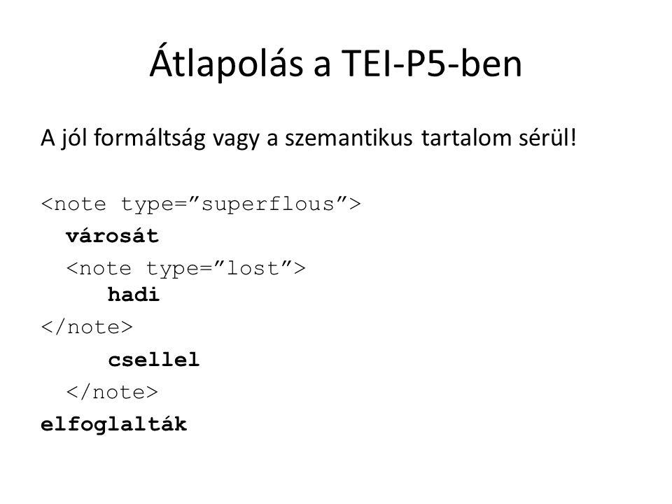 Átlapolás a TEI-P5-ben A jól formáltság vagy a szemantikus tartalom sérül.