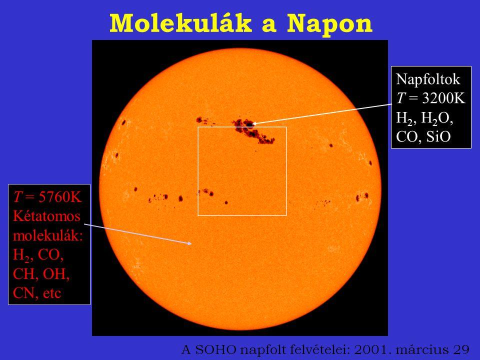 A SOHO napfolt felvételei: 2001. március 29 Molekulák a Napon T = 5760K Kétatomos molekulák: H 2, CO, CH, OH, CN, etc Napfoltok T = 3200K H 2, H 2 O,