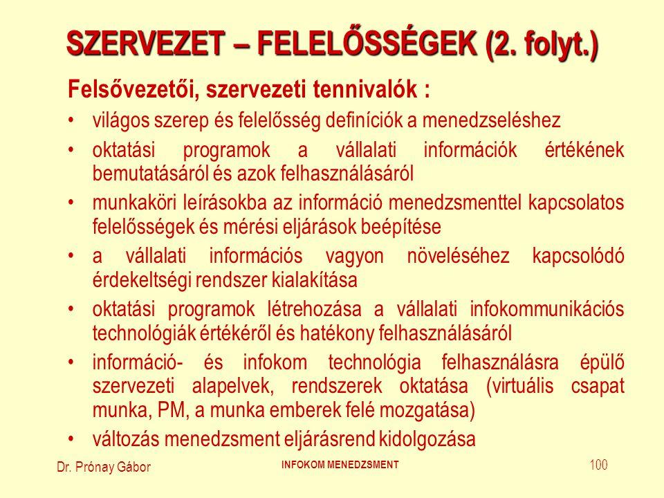 Dr. Prónay Gábor INFOKOM MENEDZSMENT 100 SZERVEZET – FELELŐSSÉGEK (2. folyt.) Felsővezetői, szervezeti tennivalók : világos szerep és felelősség defin