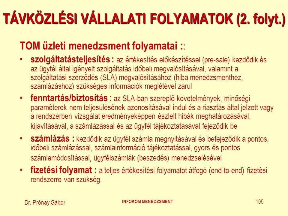 Dr. Prónay Gábor INFOKOM MENEDZSMENT 105 TÁVKÖZLÉSI VÁLLALATI FOLYAMATOK (2. folyt.) TOM üzleti menedzsment folyamatai : : szolgáltatásteljesítés : az