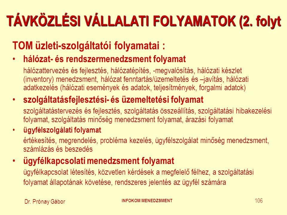 Dr. Prónay Gábor INFOKOM MENEDZSMENT 106 TÁVKÖZLÉSI VÁLLALATI FOLYAMATOK (2. folyt TOM üzleti-szolgáltatói folyamatai : hálózat- és rendszermenedzsmen