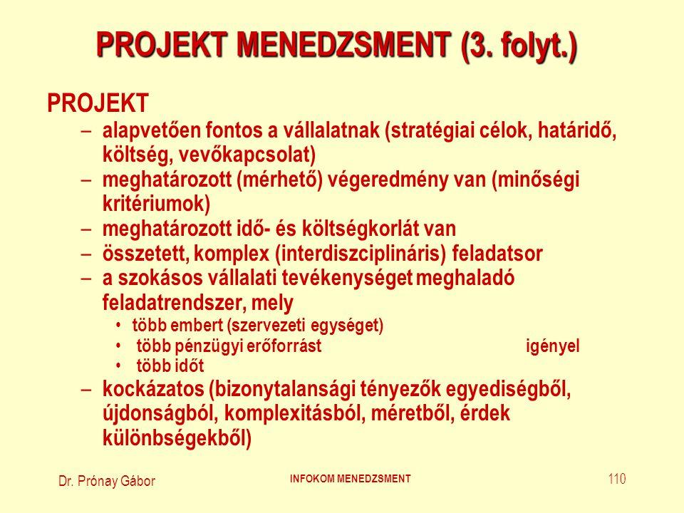 Dr. Prónay Gábor INFOKOM MENEDZSMENT 110 PROJEKT MENEDZSMENT (3. folyt.) PROJEKT – alapvetően fontos a vállalatnak (stratégiai célok' határidő' költsé