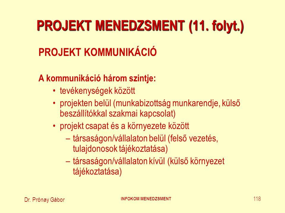 Dr. Prónay Gábor INFOKOM MENEDZSMENT 118 PROJEKT MENEDZSMENT (11. folyt.) PROJEKT KOMMUNIKÁCIÓ A kommunikáció három szintje: tevékenységek között proj
