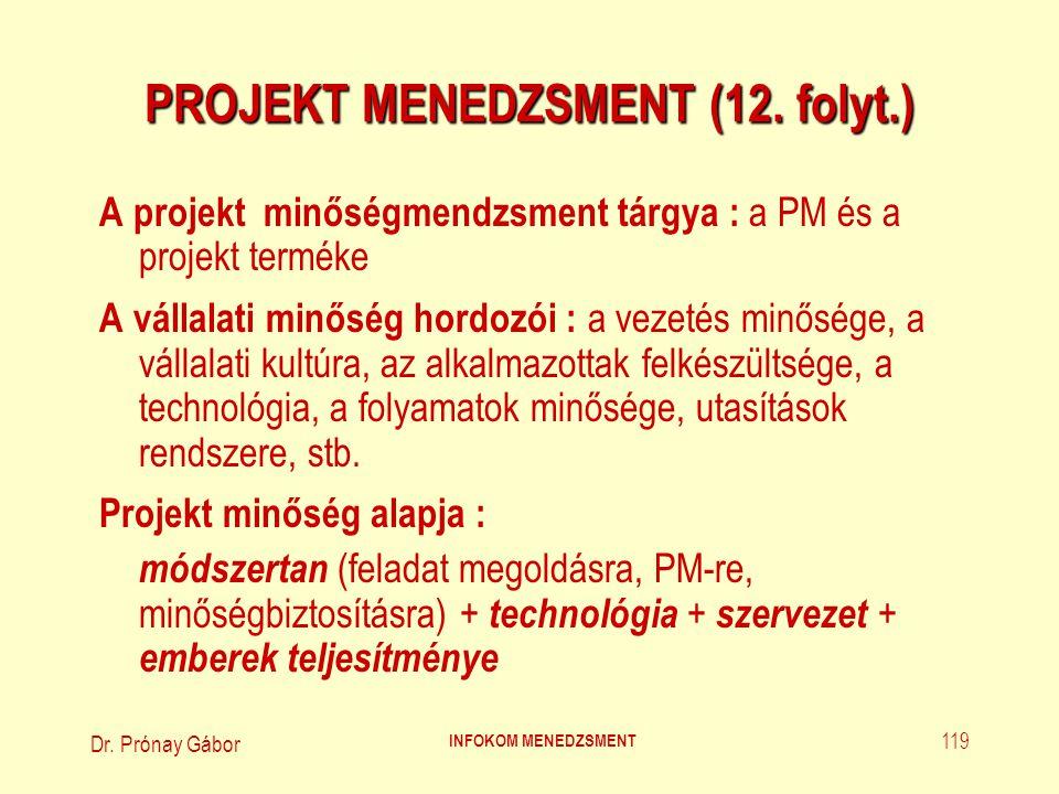 Dr. Prónay Gábor INFOKOM MENEDZSMENT 119 PROJEKT MENEDZSMENT (12. folyt.) A projekt minőségmendzsment tárgya : a PM és a projekt terméke A vállalati m