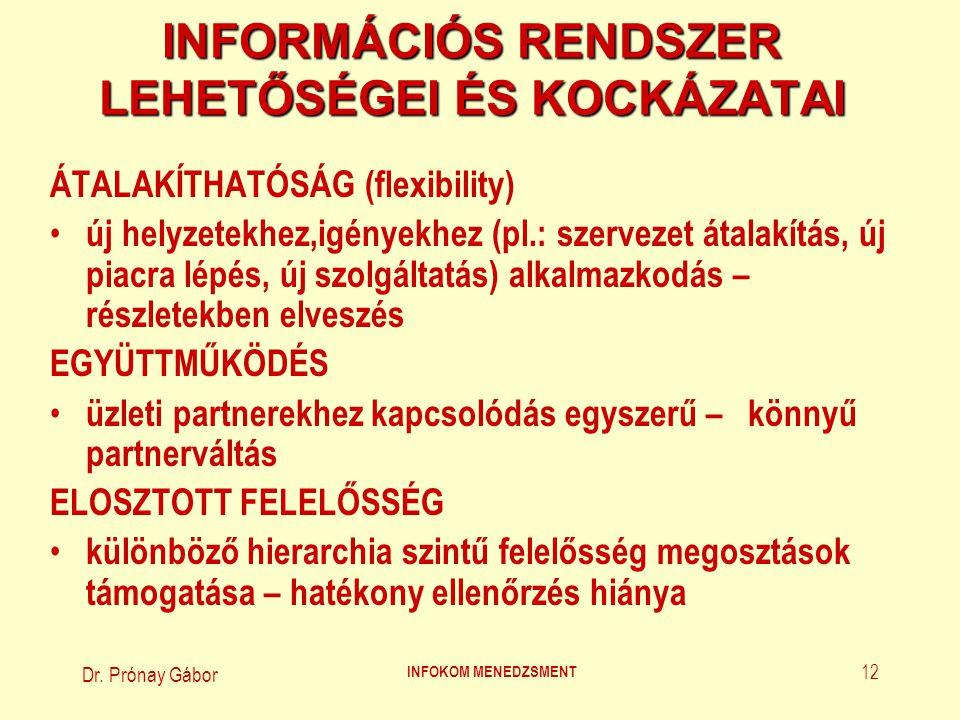 Dr. Prónay Gábor INFOKOM MENEDZSMENT 12 INFORMÁCIÓS RENDSZER LEHETŐSÉGEI ÉS KOCKÁZATAI ÁTALAKÍTHATÓSÁG (flexibility) új helyzetekhez,igényekhez (pl.: