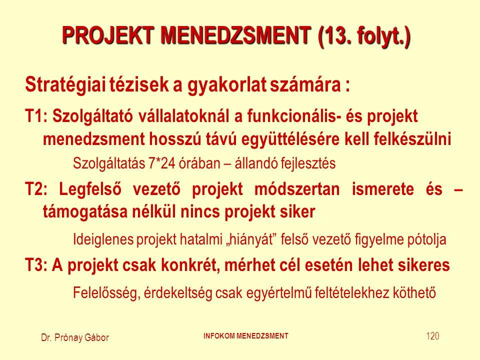 Dr. Prónay Gábor INFOKOM MENEDZSMENT 120 PROJEKT MENEDZSMENT (13. folyt.) Stratégiai tézisek a gyakorlat számára : T1: Szolgáltató vállalatoknál a fun