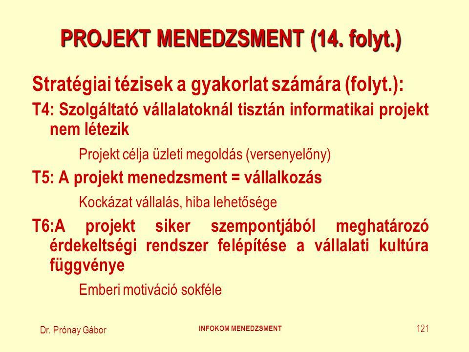 Dr. Prónay Gábor INFOKOM MENEDZSMENT 121 PROJEKT MENEDZSMENT (14. folyt.) Stratégiai tézisek a gyakorlat számára (folyt.): T4: Szolgáltató vállalatokn