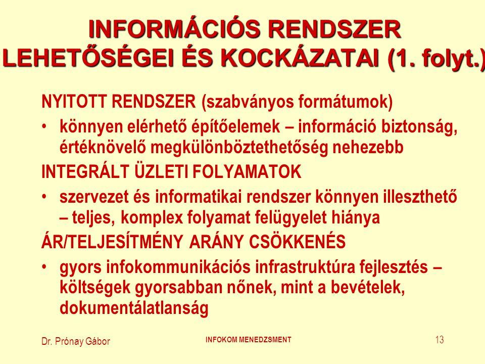 Dr. Prónay Gábor INFOKOM MENEDZSMENT 13 INFORMÁCIÓS RENDSZER LEHETŐSÉGEI ÉS KOCKÁZATAI (1. folyt.) NYITOTT RENDSZER (szabványos formátumok) könnyen el