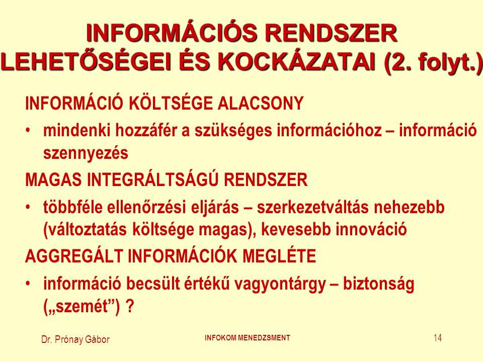 Dr. Prónay Gábor INFOKOM MENEDZSMENT 14 INFORMÁCIÓS RENDSZER LEHETŐSÉGEI ÉS KOCKÁZATAI (2. folyt.) INFORMÁCIÓ KÖLTSÉGE ALACSONY mindenki hozzáfér a sz