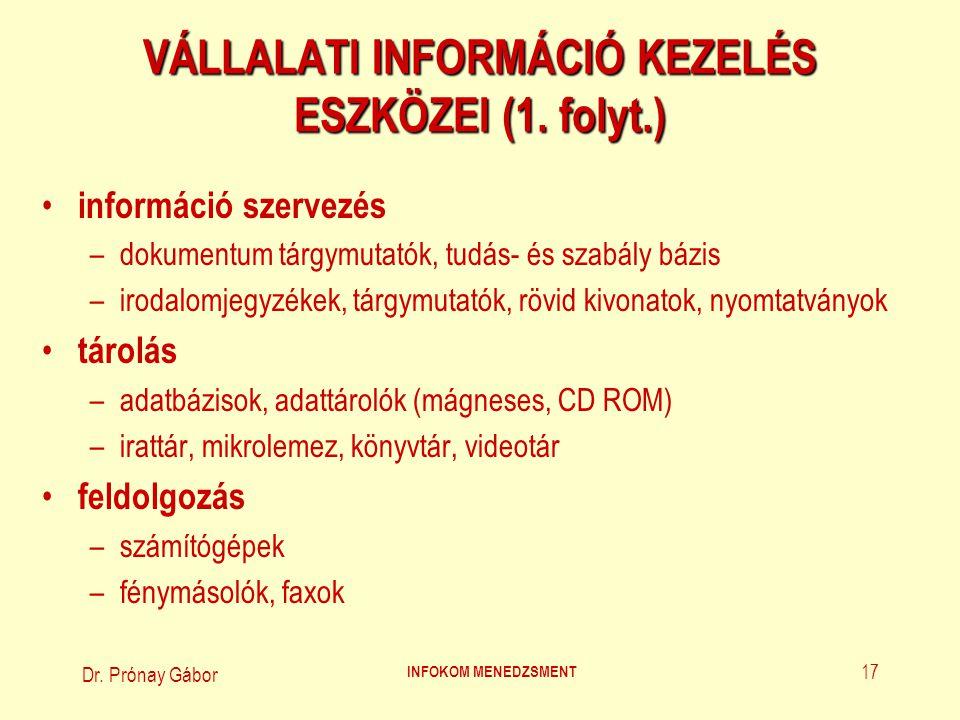 Dr. Prónay Gábor INFOKOM MENEDZSMENT 17 VÁLLALATI INFORMÁCIÓ KEZELÉS ESZKÖZEI (1. folyt.) információ szervezés –dokumentum tárgymutatók, tudás- és sza