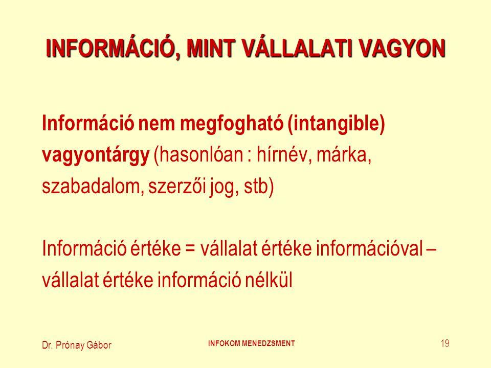 Dr. Prónay Gábor INFOKOM MENEDZSMENT 19 INFORMÁCIÓ, MINT VÁLLALATI VAGYON Információ nem megfogható (intangible) vagyontárgy (hasonlóan : hírnév, márk