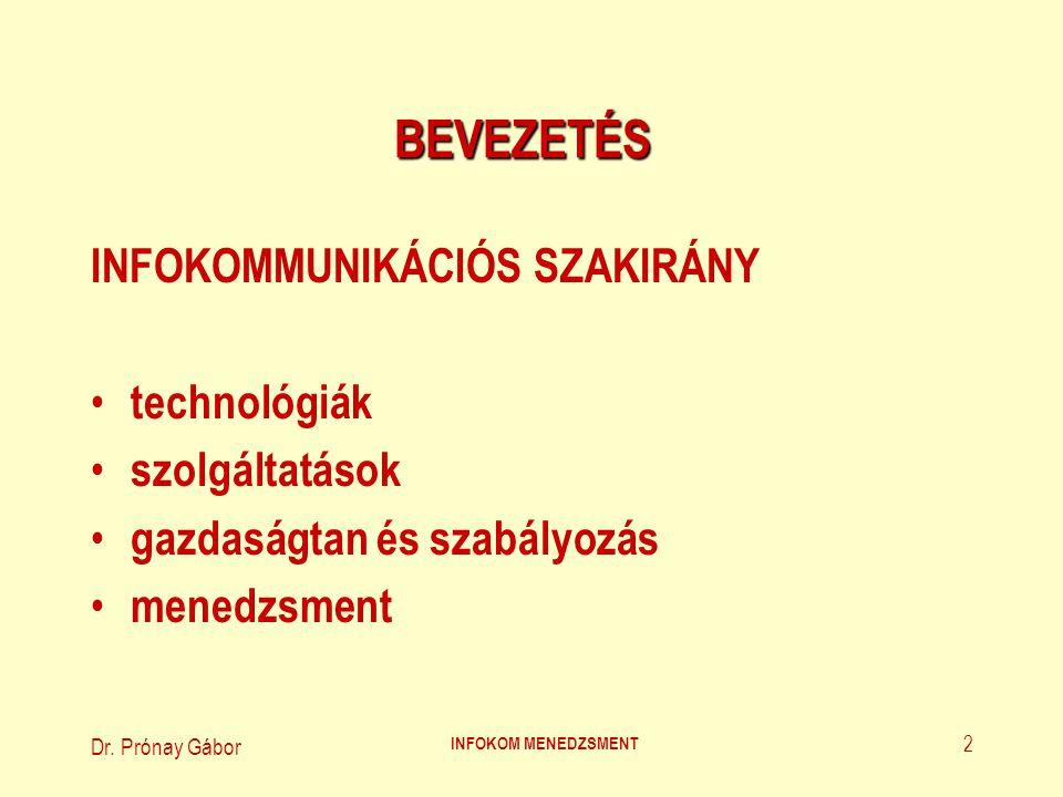 Dr. Prónay Gábor INFOKOM MENEDZSMENT 2 BEVEZETÉS INFOKOMMUNIKÁCIÓS SZAKIRÁNY technológiák szolgáltatások gazdaságtan és szabályozás menedzsment