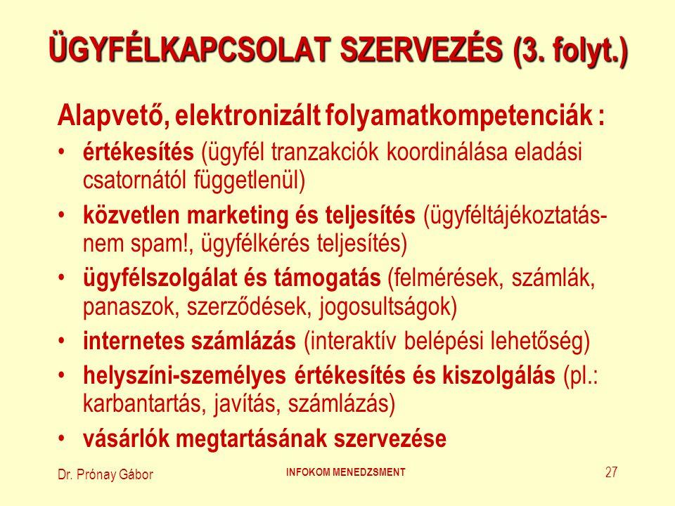 Dr. Prónay Gábor INFOKOM MENEDZSMENT 27 ÜGYFÉLKAPCSOLAT SZERVEZÉS (3. folyt.) Alapvető, elektronizált folyamatkompetenciák : értékesítés (ügyfél tranz