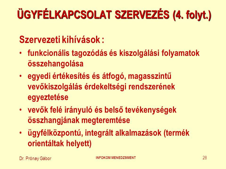 Dr. Prónay Gábor INFOKOM MENEDZSMENT 28 ÜGYFÉLKAPCSOLAT SZERVEZÉS (4. folyt.) Szervezeti kihívások : funkcionális tagozódás és kiszolgálási folyamatok