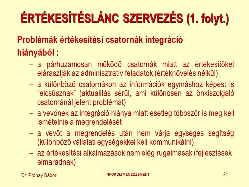 Dr. Prónay Gábor INFOKOM MENEDZSMENT 31 ÉRTÉKESÍTÉSLÁNC SZERVEZÉS (1. folyt.) Problémák értékesítési csatornák integráció hiányából : –a párhuzamosan