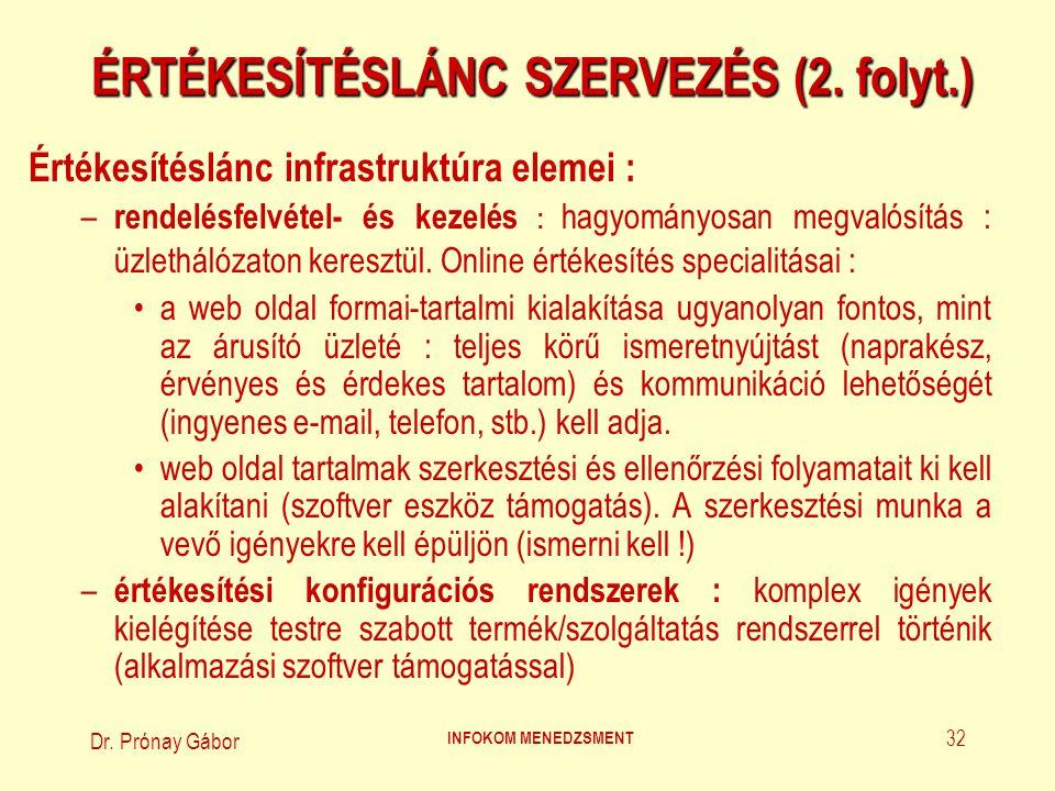 Dr. Prónay Gábor INFOKOM MENEDZSMENT 32 ÉRTÉKESÍTÉSLÁNC SZERVEZÉS (2. folyt.) Értékesítéslánc infrastruktúra elemei : – rendelésfelvétel- és kezelés :