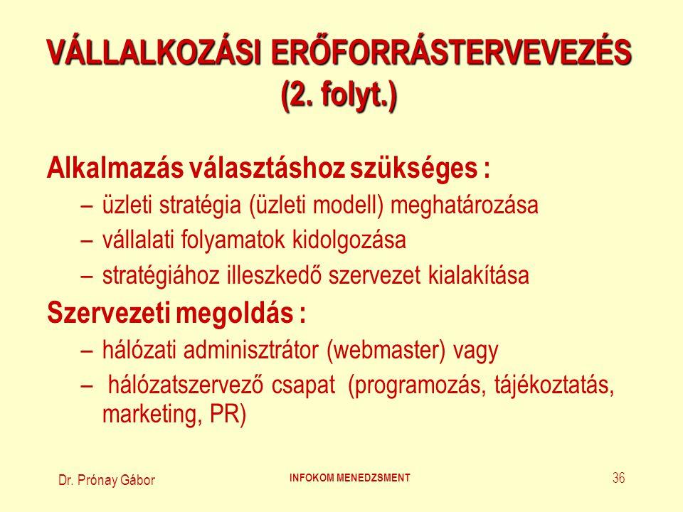 Dr. Prónay Gábor INFOKOM MENEDZSMENT 36 VÁLLALKOZÁSI ERŐFORRÁSTERVEVEZÉS (2. folyt.) Alkalmazás választáshoz szükséges : –üzleti stratégia (üzleti mod