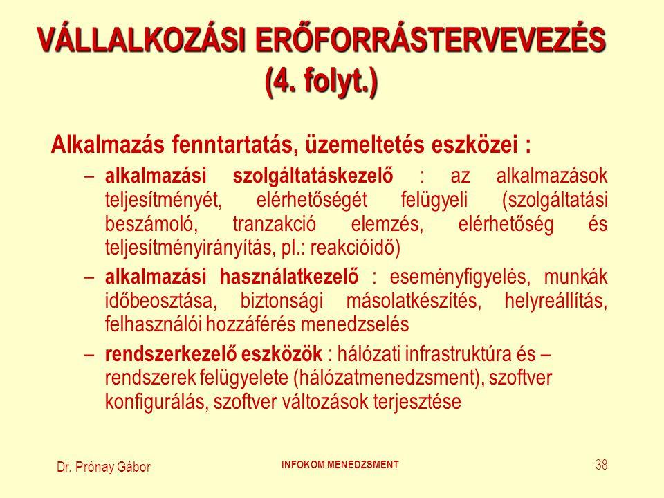 Dr. Prónay Gábor INFOKOM MENEDZSMENT 38 VÁLLALKOZÁSI ERŐFORRÁSTERVEVEZÉS (4. folyt.) Alkalmazás fenntartatás, üzemeltetés eszközei : – alkalmazási szo