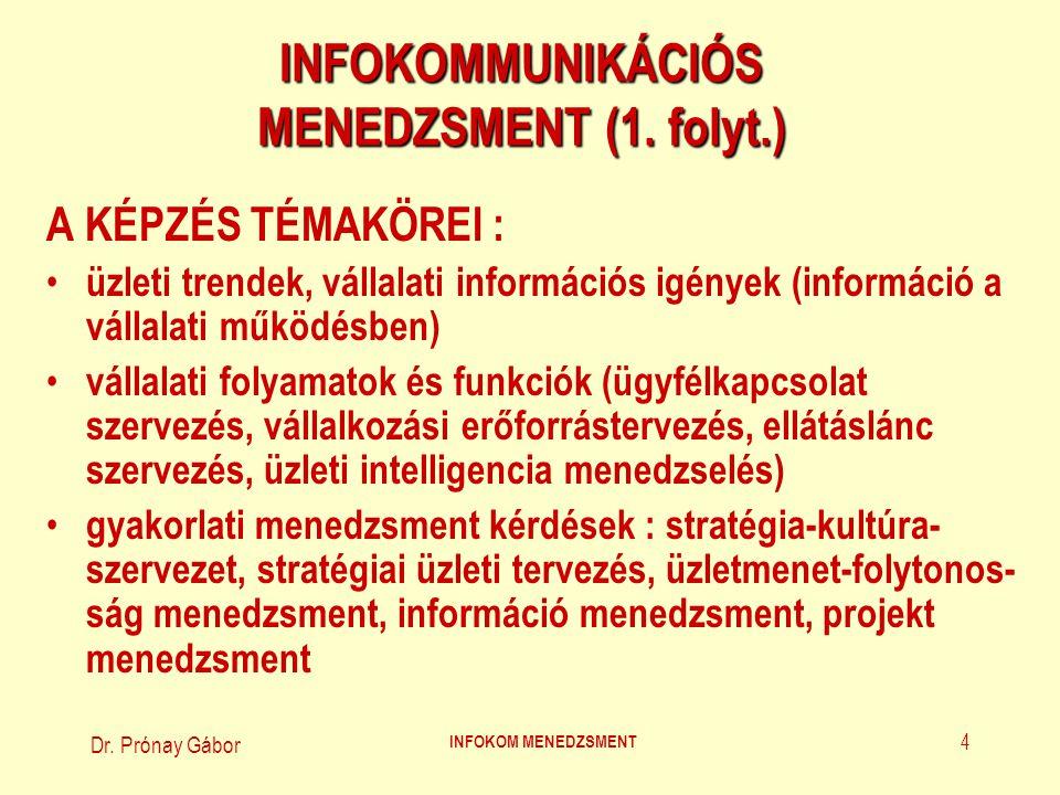 Dr. Prónay Gábor INFOKOM MENEDZSMENT 4 INFOKOMMUNIKÁCIÓS MENEDZSMENT (1. folyt.) A KÉPZÉS TÉMAKÖREI : üzleti trendek, vállalati információs igények (i