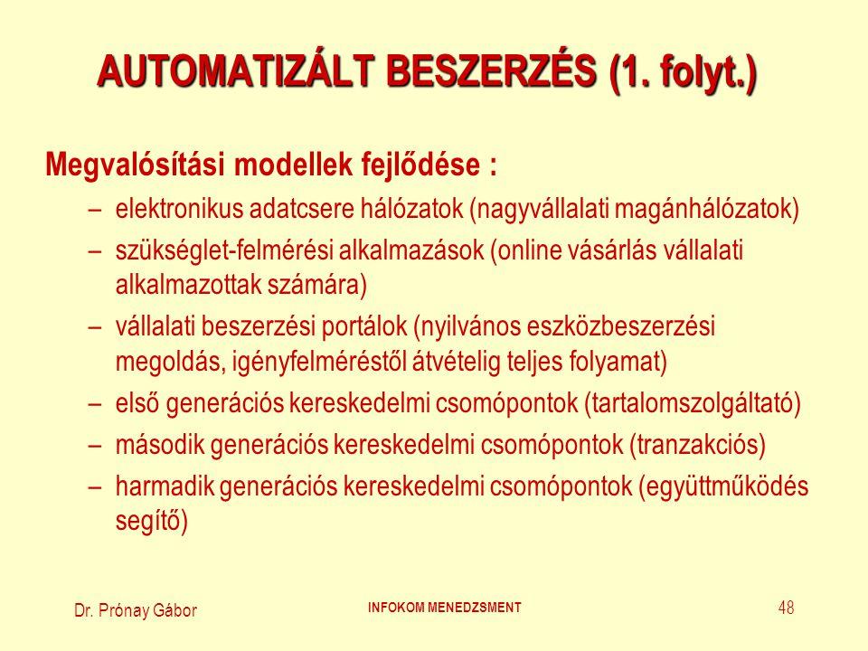 Dr. Prónay Gábor INFOKOM MENEDZSMENT 48 AUTOMATIZÁLT BESZERZÉS (1. folyt.) Megvalósítási modellek fejlődése : –elektronikus adatcsere hálózatok (nagyv