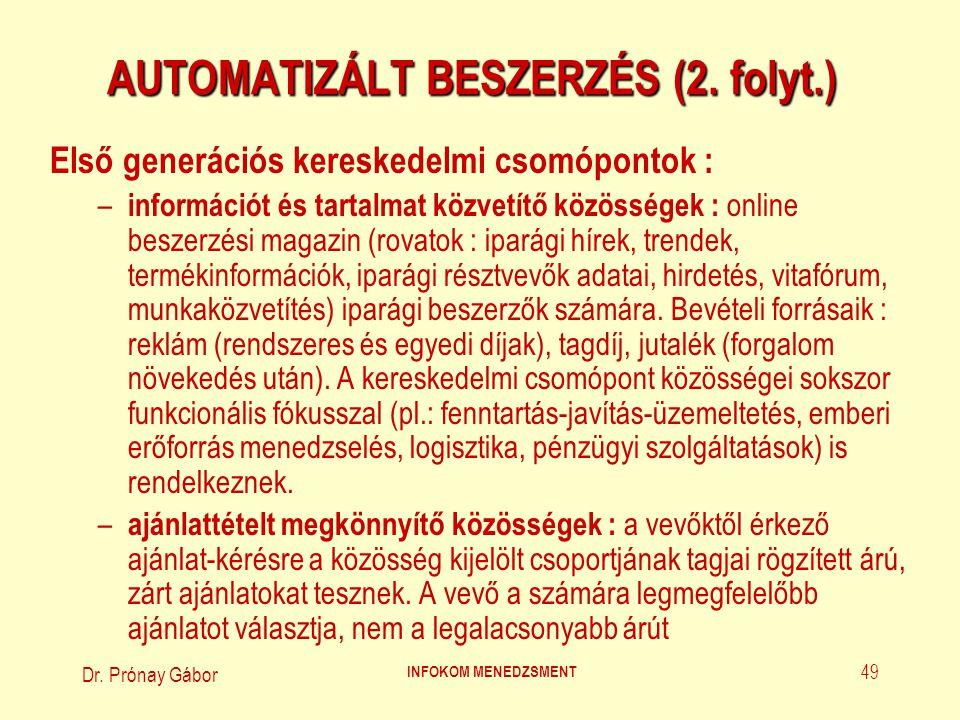 Dr. Prónay Gábor INFOKOM MENEDZSMENT 49 AUTOMATIZÁLT BESZERZÉS (2. folyt.) Első generációs kereskedelmi csomópontok : – információt és tartalmat közve