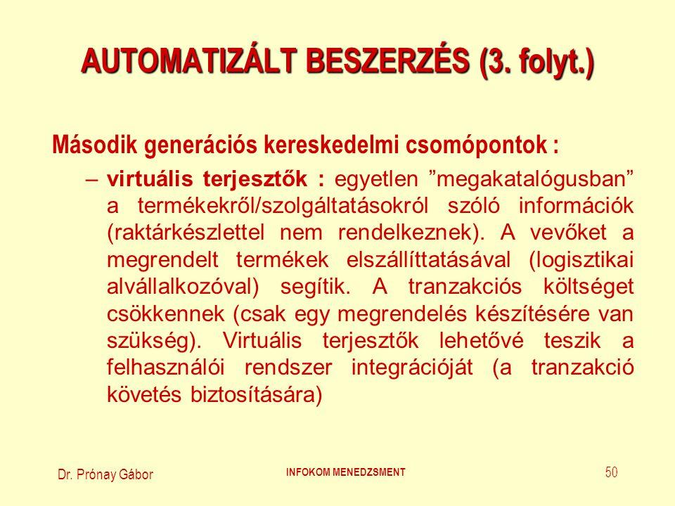 Dr. Prónay Gábor INFOKOM MENEDZSMENT 50 AUTOMATIZÁLT BESZERZÉS (3. folyt.) Második generációs kereskedelmi csomópontok : –virtuális terjesztők : egyet