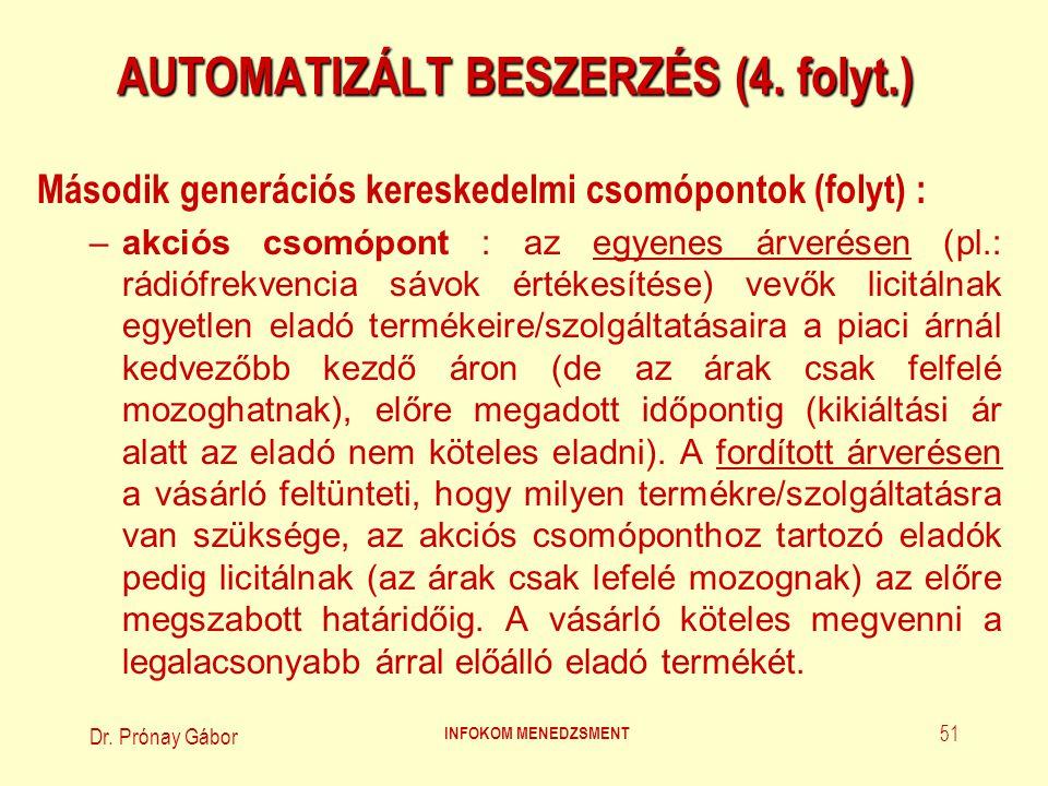 Dr. Prónay Gábor INFOKOM MENEDZSMENT 51 AUTOMATIZÁLT BESZERZÉS (4. folyt.) Második generációs kereskedelmi csomópontok (folyt) : –akciós csomópont : a
