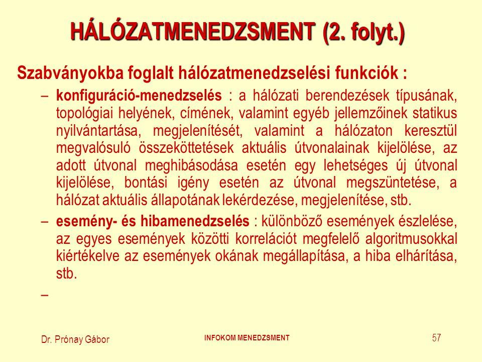 Dr. Prónay Gábor INFOKOM MENEDZSMENT 57 HÁLÓZATMENEDZSMENT (2. folyt.) Szabványokba foglalt hálózatmenedzselési funkciók : – konfiguráció-menedzselés