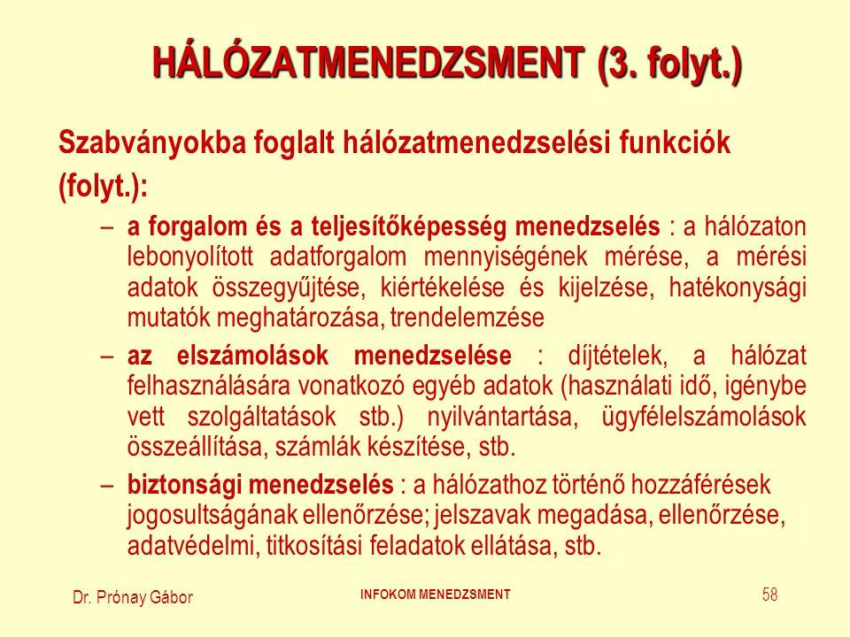 Dr. Prónay Gábor INFOKOM MENEDZSMENT 58 HÁLÓZATMENEDZSMENT (3. folyt.) Szabványokba foglalt hálózatmenedzselési funkciók (folyt.): – a forgalom és a t